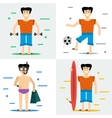 Four man on summer beach vector image vector image
