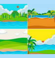 four scenes of beach and river vector image vector image