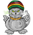 fun jamaican cat isolated on white background vector image vector image
