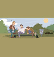 funny people talking mans in park vector image vector image