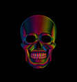 graphic print of stylized skull in spectrum colors vector image