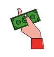 hand holding dollar bill money icon image vector image vector image