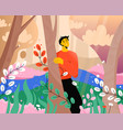 happy man enjoying nature at abstract magic forest vector image