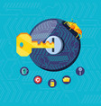 key with set icons cyber security vector image vector image