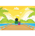 Kids sitting on pier vector image