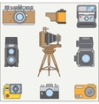 Line flat color icon set with retro analog vector image vector image