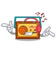 listening music radio mascot cartoon style vector image