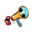 mouth screaming into a megaphone isolated on vector image vector image