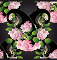 pink 3d roses seamless pattern paisley flowers vector image