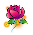 pink rose painting on white background vector image vector image