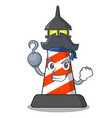 pirate lighthouse character cartoon style vector image