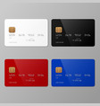 realistic white black red and blue credit card vector image vector image