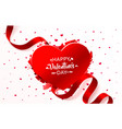 ribbon red heart valentines day 3d red hearts vector image vector image