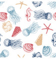 sea animals sketched seamless pattern marine life vector image vector image