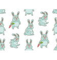 seamless pattern with rabbits vector image vector image