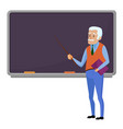 senior teacher professor standing near blackboard vector image vector image