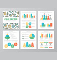 set colored car service and auto repair vector image