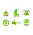 set logo garden landscape design gardening vector image