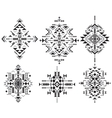 Set of six black and white ethnic pattern elements vector image