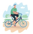 smiling cartoon man riding on a bike vector image vector image