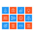 startup line icons set product launch funding vector image vector image