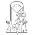 superheroine on throne line art vector image