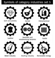symbole of category industries set 5 vector image vector image