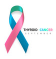 thyroid cancer awareness month realistic teal vector image vector image
