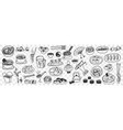 various japanese and chinese dishes doodle set vector image