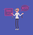 vr woman having negative experience and problems vector image
