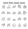 working at home icon set in thin line style vector image vector image