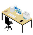 working place desk and armchair computer laptop vector image