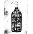 lettering about wine in a dark bottle silhouette vector image