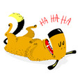 laughing dog the dog laughs and rolls on the vector image