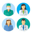 medical icons doctor and nurse avatars vector image
