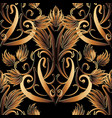 baroque gold 3d seamless pattern vector image