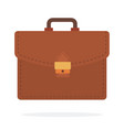 briefcase for brown leather flat isolated vector image