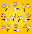 cartoon cute emoticon set vector image vector image