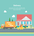 cartoon delivery service concept card poster vector image vector image