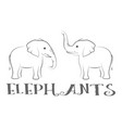 cartoon elephants contours vector image vector image