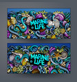 cartoon hand-drawn underwater life banners vector image vector image