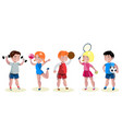 cartoon kids sports characters set vector image vector image