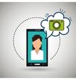 cartoon woman smartphone camera vector image