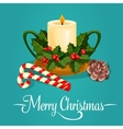 Christmas candle with holly berry greeting card vector image