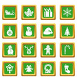 christmas icons set green vector image vector image