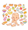 curios child with finger in mouth choosing food vector image