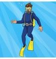 Diver uder water pop art style vector image