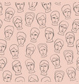 doodle head faces sketchy seamless pattern black vector image