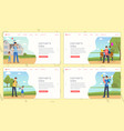 father day landing pages template set parents vector image