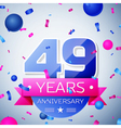 Forty nine years anniversary celebration on grey vector image vector image